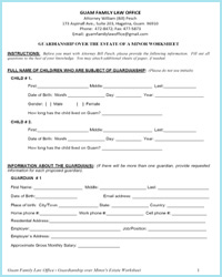Printables Divorce Worksheet guardianship over minors estate worksheets guam family law office worksheets